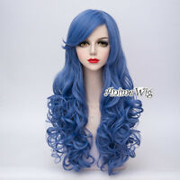 Lolita Lady 65cm Mixed Blue Long Curly Hair Daily Party Cosplay Wig + Cap