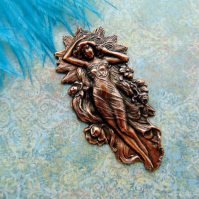 ANTIQUE COPPER Art Nouveau Mermaid Water Nymph - Goddess Woman Stamping (C-308)