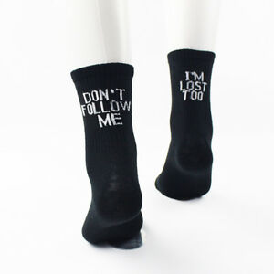 f642b11308c Details about Casual Men Womens Alphabet Funny Sports Cotton White Black  Skateboard Socks Cool