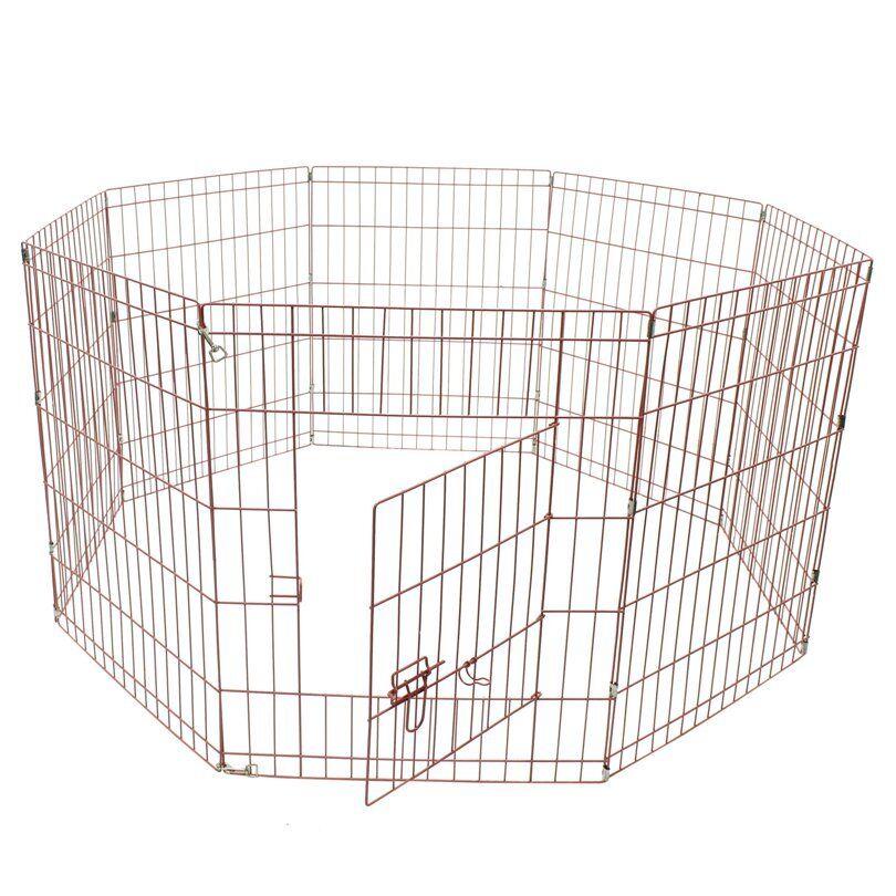 ALEKO 30 Inch Dog Playpen Pet Kennel Pen Exercise Cage Fence 8 Panel Pink color