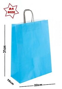 Details About 10 X Sky Blue Paper Party Gift Bags Boutique Loot Carrier Bag Size A4