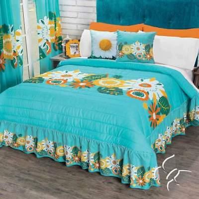 Blue Green Bibiana Fl Bedspread Set With Bedskirt Attached By Intima Hogar Ebay