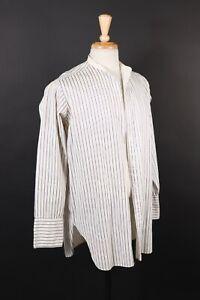 VTG-20s-30s-Avondale-Tuch-Kragenloses-gestreift-Kleid-Hemd-USA-Herren-Medium
