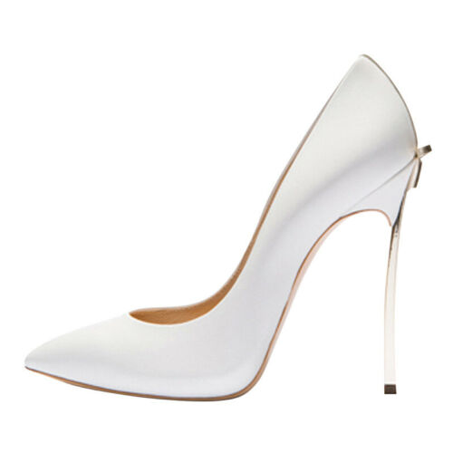 High Heel Womens Punta Formal Stilettos Evening Wedding On Slip Slip White Pumps vwqqZx8