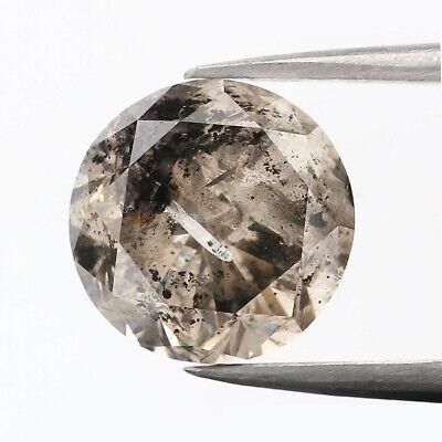 0.62 Ct Natural Loose Diamond Round Black Brown Salt And Pepper Color 5.43 MM N381
