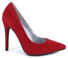 12 Wide RED Suede High Heel Pump Pointed Toe Stiletto DragQueen Crossdresser
