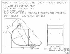 "16"" quick attach bucket built to fit kubota U-45 excavator"