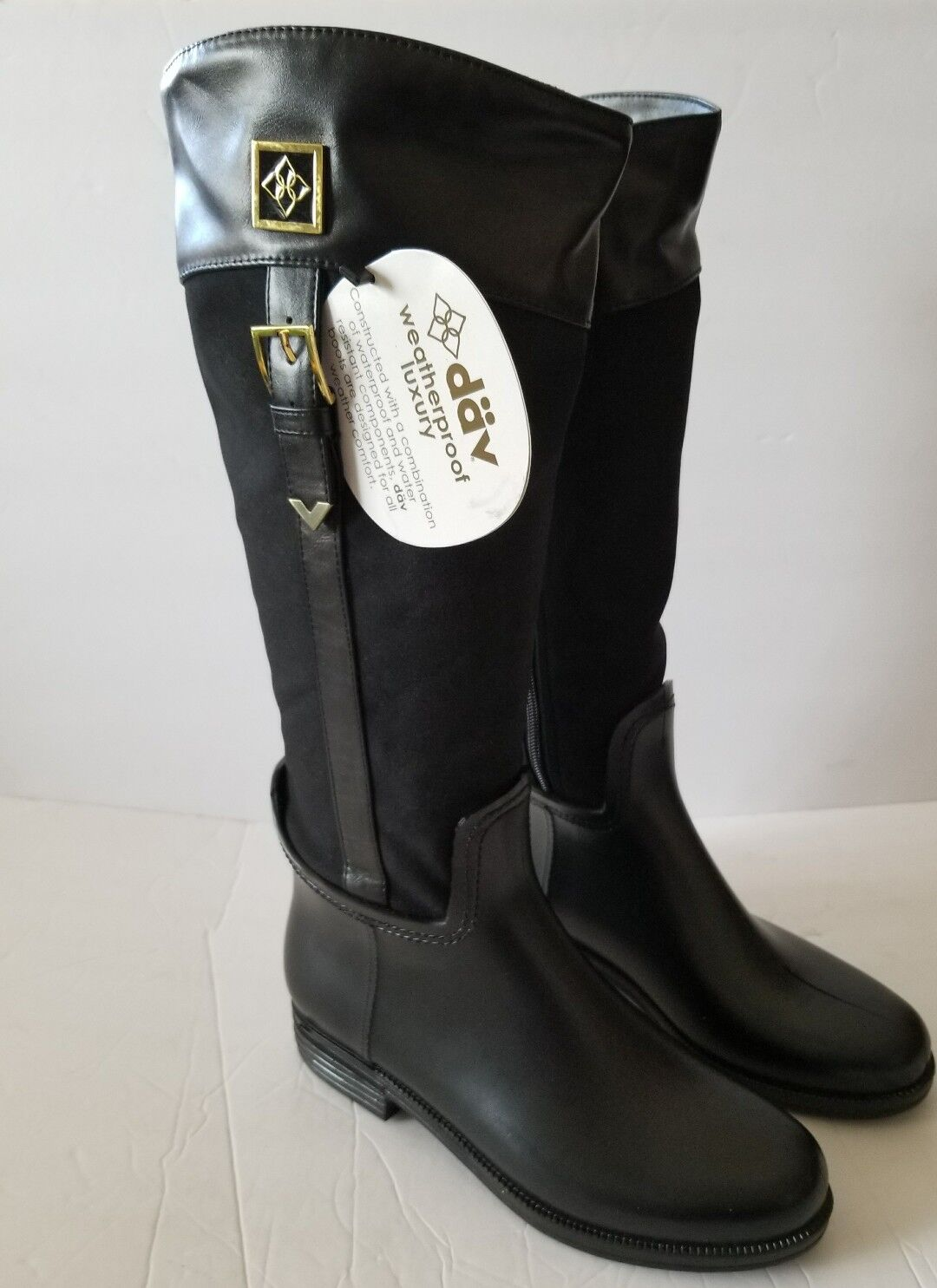 NEW WOMEN'S DAV BLACK BUCKLE COVENTRY SIDE RAINBOOTS SIZE 8 FITS A SIZE 7  120