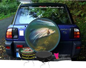 Angler-Fischer-Fisch-Regenbogen-Forelle-Auto-Reifen-Bezug-massgeschneidert