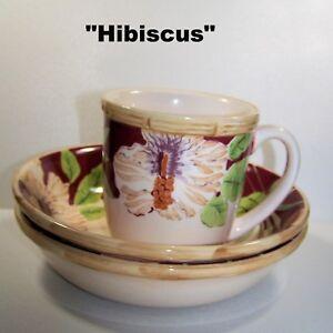 Home-Trends-2-Soup-Bowls-amp-1-Mug-Set-Hibiscus-Pattern-Beige-Green-Floral-2004