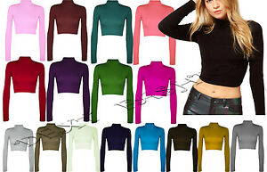 NEW WOMEN POLO ROLL NECK CROP TOP GIRLS LONG SLEEVE BLACK WHITE ... 07b26ad0c7b