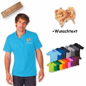 Poloshirt Polo Shirt Baumwolle bestickt Stickerei Hund Spitz 1 + Wunschtext