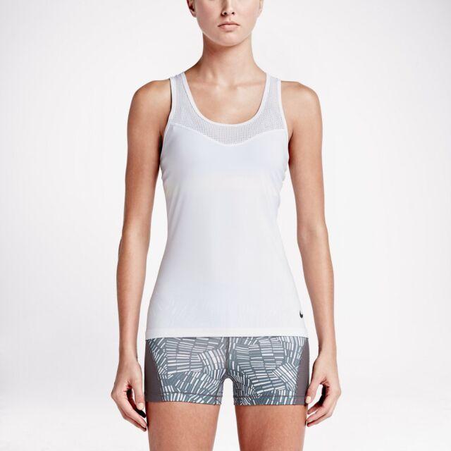ee44ea22125f8 Nike Pro HyperCool 725726-455 White Black Dri-Fit Women s Training Tank Top