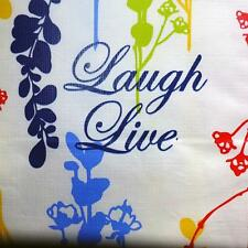 52x70 Oblong VINYL TABLECLOTH~Flannel Back~Floral/Live/Love/Laugh~Red/Blue~NEW