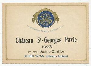 RARE-ETIQUETTE-DE-VIN-SAINT-EMILION-1er-GRAND-CRU-CHATEAU-ST-GEORGES-PAVIE-1923