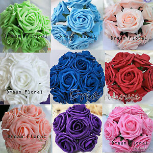 "3"" Foam Roses Wedding Bridal Bouquet Artificial Flowers Home Party Decor Crafts"