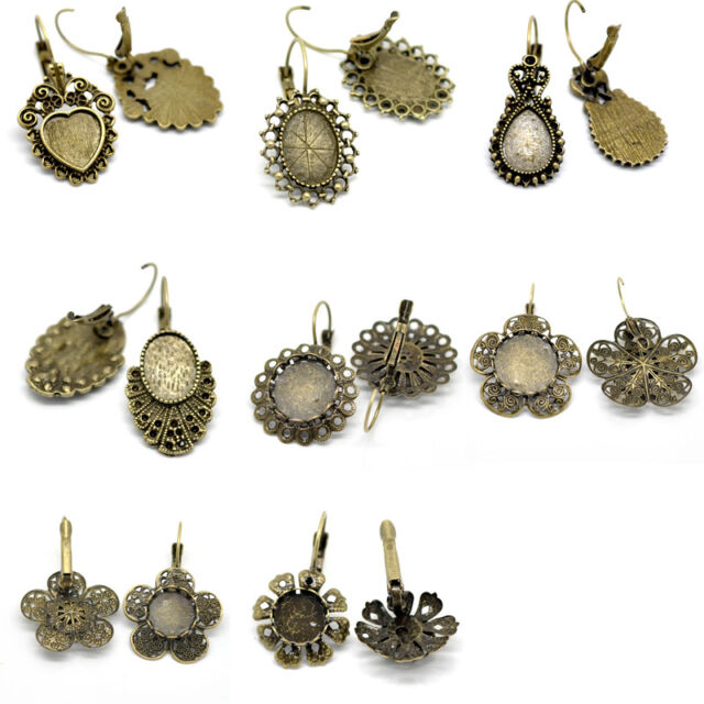Cabochon Setting Earring Clips Bronze Tone M0975
