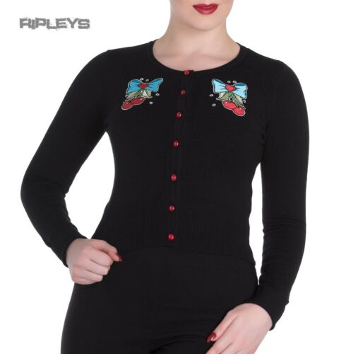 HELL BUNNY Ladies Black Cardigan Top ANNA 50s Cherry Bow All Sizes