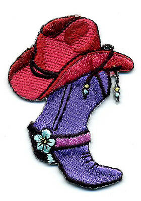 Boot - Cowgirl Boot & Hat - Southwestern Embroidered Iron On Applique Patch