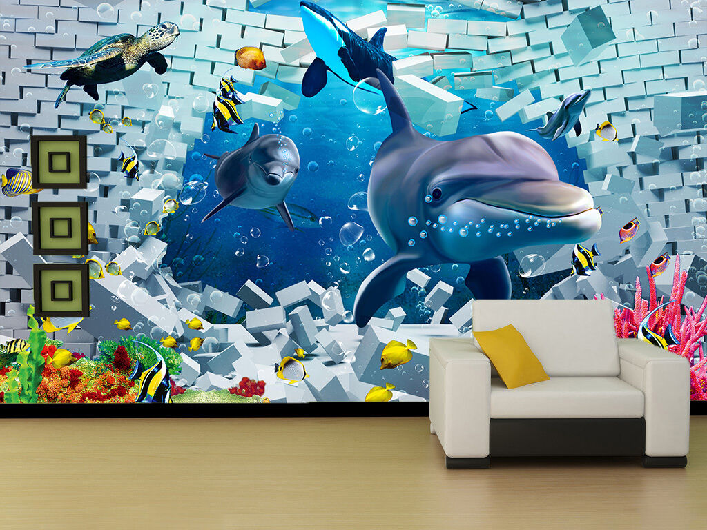 3D Dolphin Bule Sea Fish Wall Paper Wall Print Decal Wall AJ WALLPAPER CA