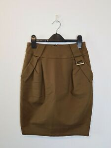 CUE AU MADE Khaki Mini Pencil Skirt Women's Size 6 Imported Fabric Buckle Lined
