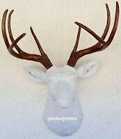 Faux White/bronze Deer Head 8 Point Buck Wall Mount Decor