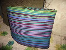 IKEA ANDREA SATIN BLUE GREEN LIME PURPLE STRIPES (1) FULL DUVET COTTON 78 X 83