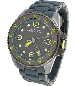de64889a0baf Marc Jacobs Mens Watch DIVER Lime & Grey Silicone Bracelet W/Box ...