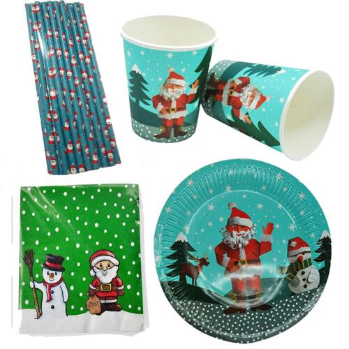 Christmas Xmas Santa Kids Party Set Tableware Paper Plates Cups Straws Napkins 1