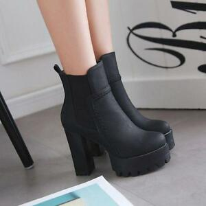 Womens-punk-Elastic-Platform-Over-High-Chunky-Heels-ankle-Boots-Clubparty-Shoes