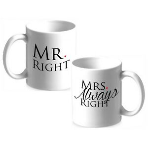 Funny Wedding Gifts.Details About Mugs For Couples Mr Right Mrs Always Right Funny Wedding Gift Humour Mugs