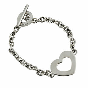 Open-Heart-Chain-Link-7-034-Bracelet-with-Toggle-Clasp-925-Sterling-Silver-NEW