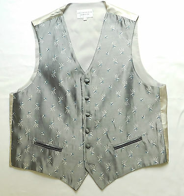 Pronuptia Monsieur grey silk waistcoats floral tuxedo vest XL 44 or 3XL 48 NEW