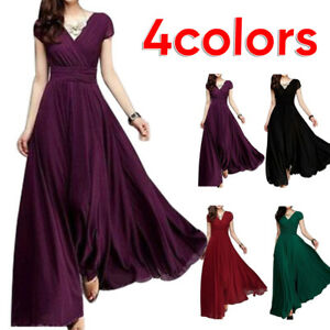 Womens-Dress-Formal-Evening-Prom-Party-Bridesmaid-Chiffon-Gowns-Cocktail-Wedding