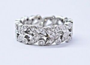 Platinum-Round-Cut-Diamond-Floral-Design-Eternity-Band-Ring-55Ct-6-5mm-Size-5-5