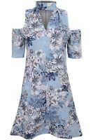 Ladies Choker V Neck Cold Shoulder Crepe Textured Floral Shift A Line Dress