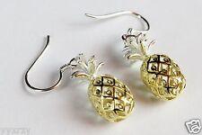 925 Sterling Silver Hawaiian Dangle Pineapple Fruit Earring Earrings Hook YGP