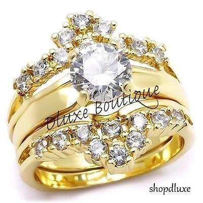 2.30 Ct Round Brilliant CZ 14k GP Engagement Wedding Ring Set Women's Size 5-10
