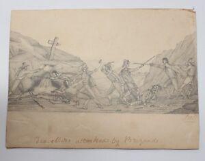 antike-Orig-Bleistiftzeichnung-Krieg-Schlacht-19-Jhdt-H303