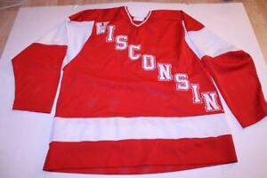 premium selection 53025 58a7a Details about Men's Wisconsin Badgers L Vintage Hockey Jersey (Red) Koronis  Sports Apparel Jer