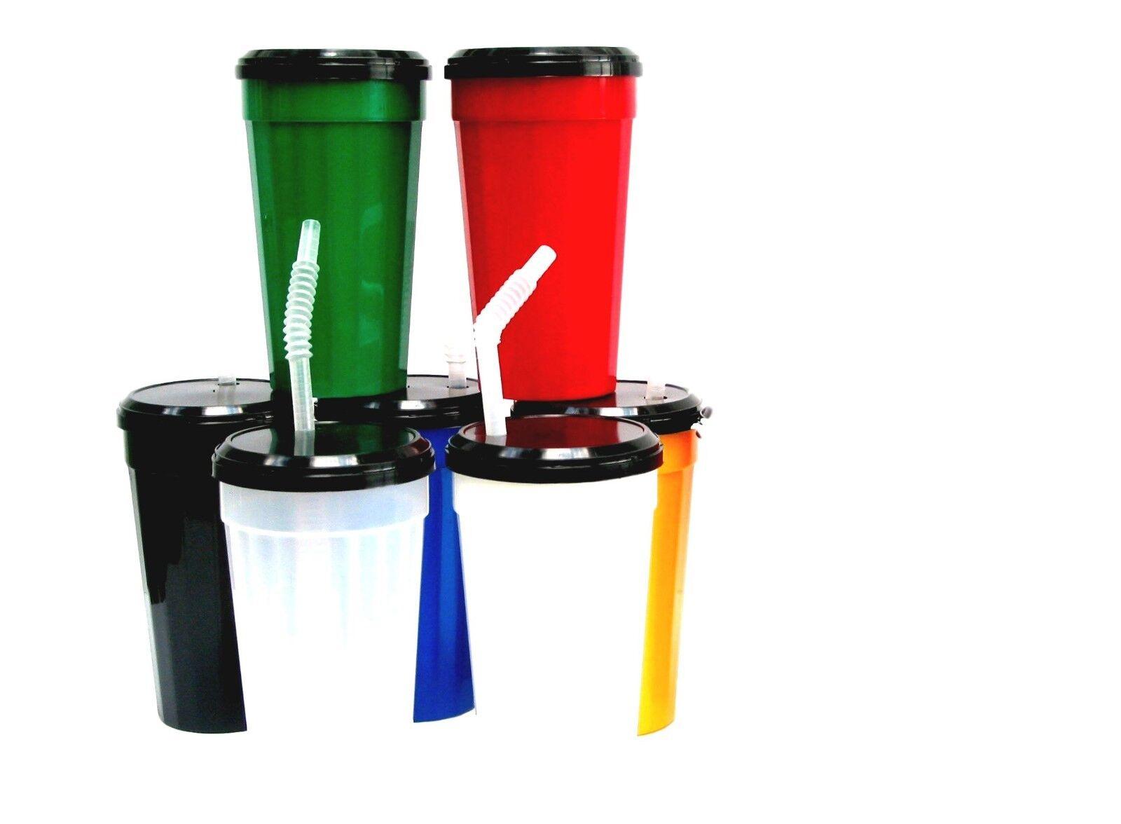 14 Lg Plastic Drinking Glasses Tumblers Lids Straws Mix of 7 Farbes Mfg in USA.