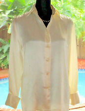 Classy CHANEL Vintage Ivory Silk Blouse Top Camelia Bttns French-Cuff FR40 M 6-8