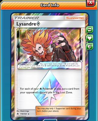 Pokemon TCGO ONLINE Lysandre Prism Star 110//131 Forbidden Light DIGITAL CARD