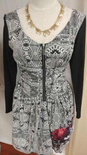 Mishmash Womens Dress Knee Length Front Zip 100/% Cotton Black and White S L XL
