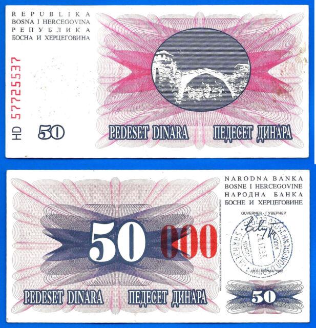 Bosnia Herzegovina 50 Dinara 1992 Overprint 50000 Dinara 1993 Free Ship