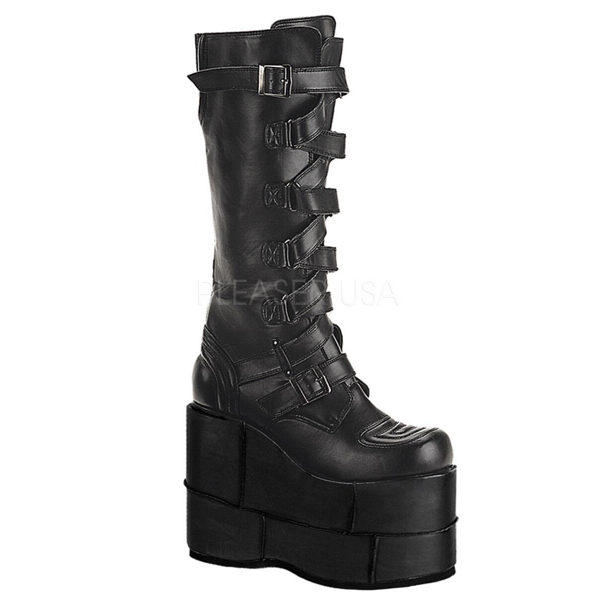 DEMONIA STA308/B/PU Men's Platform Industrial Goth Black Gogo Knee High Boots