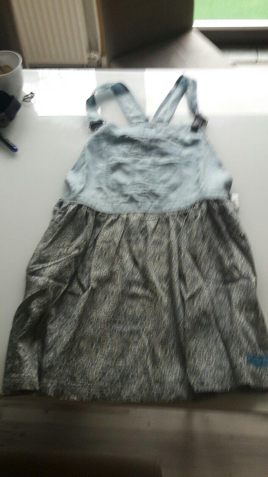 Superdrey Kleid Gr. M Latzkleid Trägerkleid Jeans Blau mit Muster