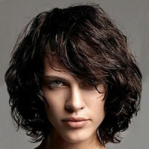 100% Real Hair!Stylish Black Brown Bouffant Curly Short Women s Wig ... adc58c94ba