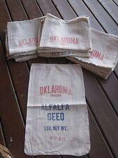 Vintage Oklahoma Origin Alfalfa Seed Striped Cloth Sack $35.00 each sack