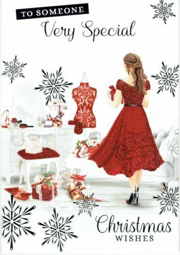 Pour une personne très spéciale Qualité Carte De Noël fille en robe rouge design